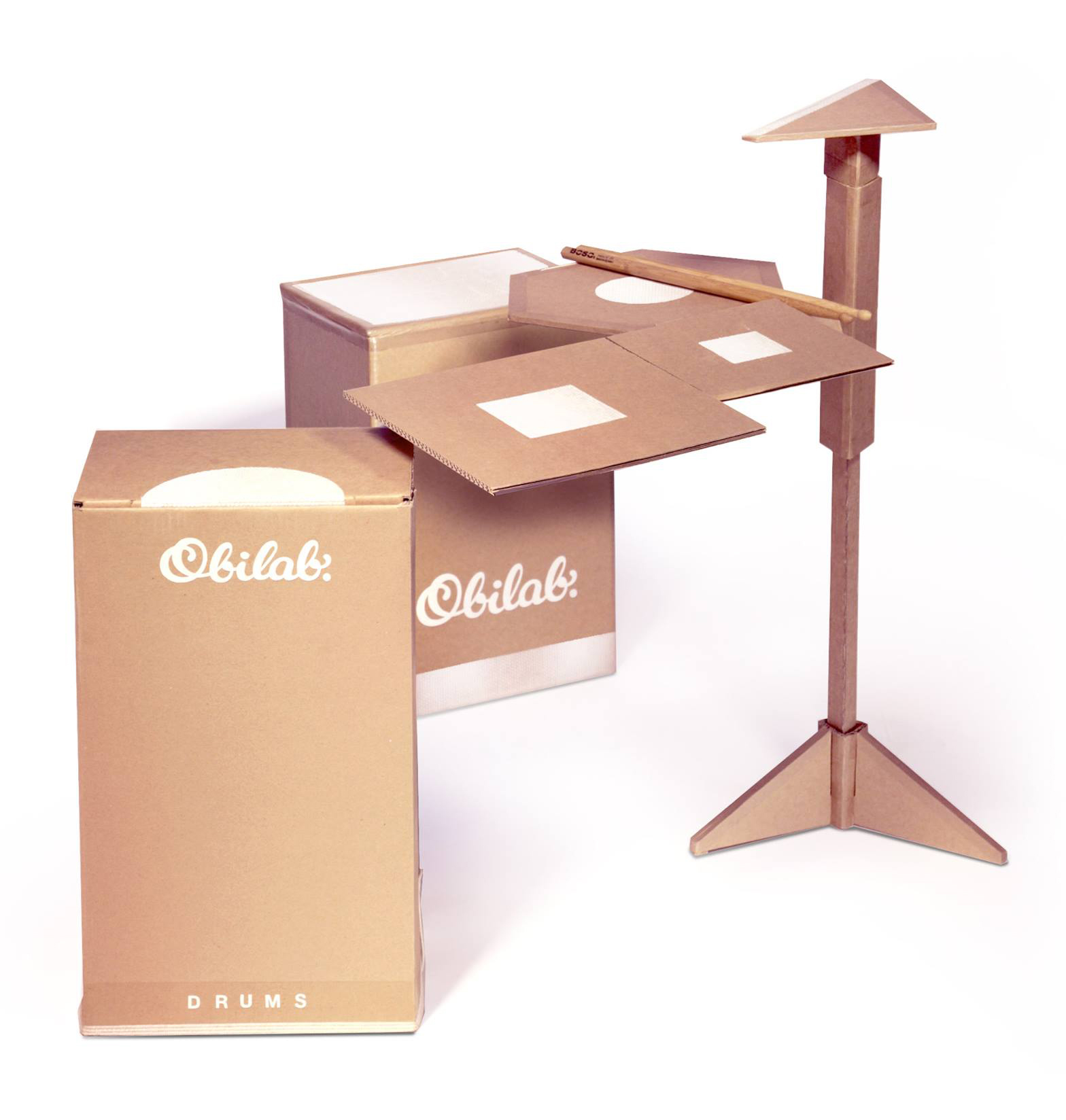 Perkusja z kartonu firmy Obilab